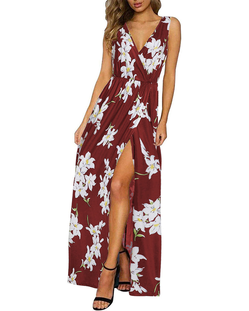 Women's Sleeveless Side Slit Floral Summer Suspender Maxi Dress