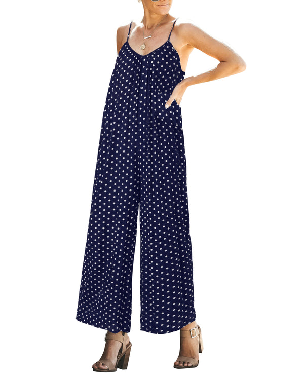 Womens  Polka Dot Sleeveless Jumpsuit V Neck With Pockets