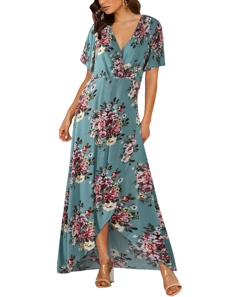 Women Casual Summer Bohemian Floral Maxi Dress