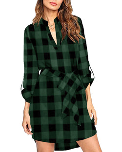Plaid Shirt Dress for Women Lapel Collar Loose