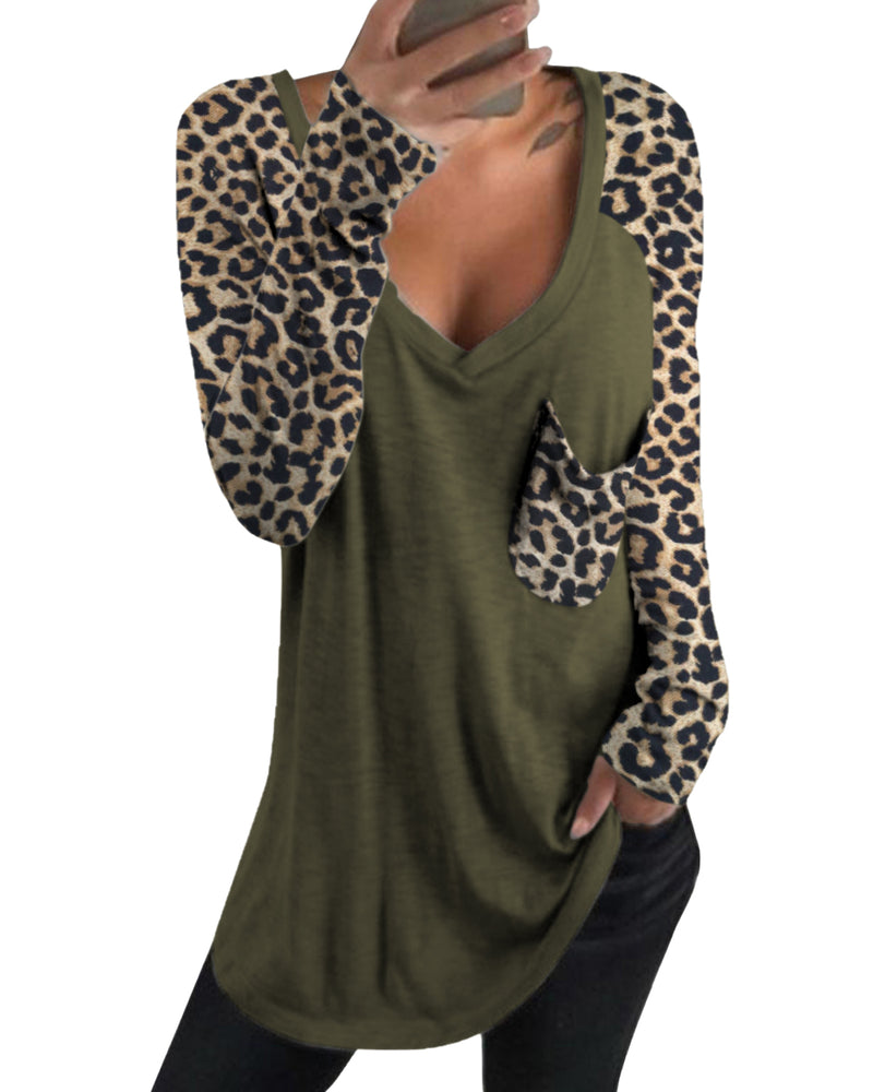 Women's Stitching Leopard Shirts Loose T Shirt Basic Tees Casual Tunic Tops