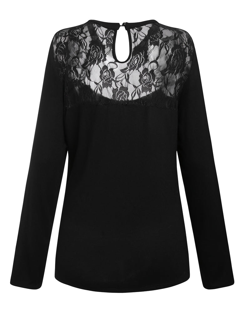 Women Sexy Long Sleeve Tops Slimming Lace Blouse Cut Out