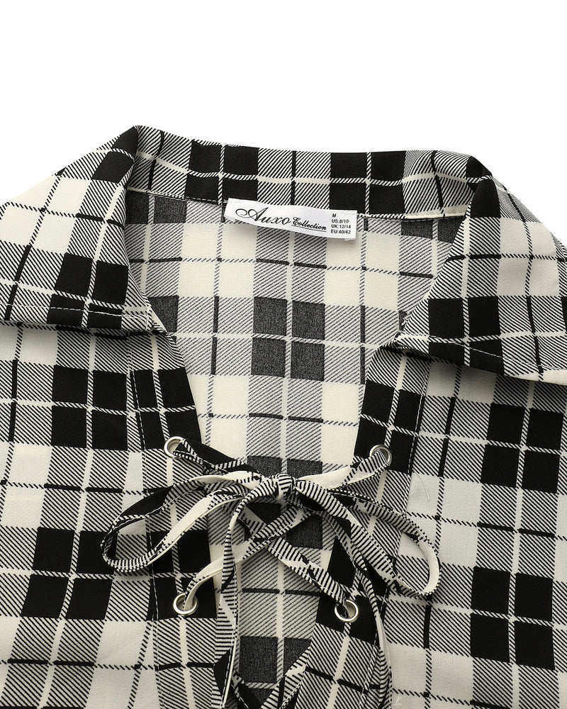 Women Shirt Bandage Plaid Deep V Neck Tops
