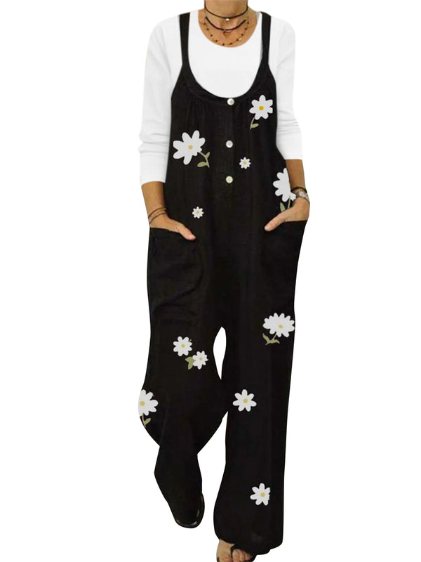 Womens Daisy Print Casual Jumpsuits Overalls Loose Fit with Pockets