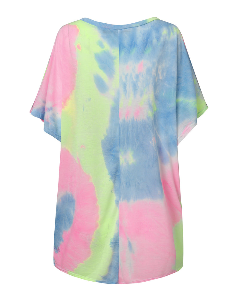 Tie Dye Women's Batwing Casual Tops Baggy Loose Sleeves T-Shirt