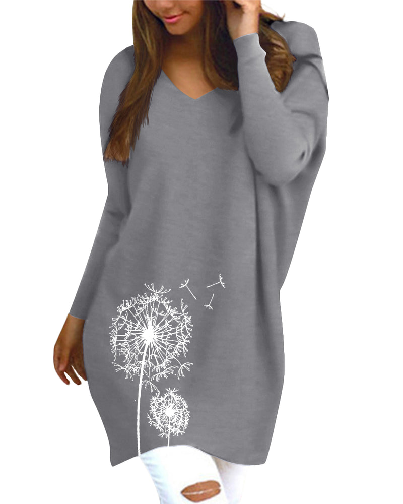 Women's Dandelion Print V Neck Pullover Tunic Casual Loose Knit Tops