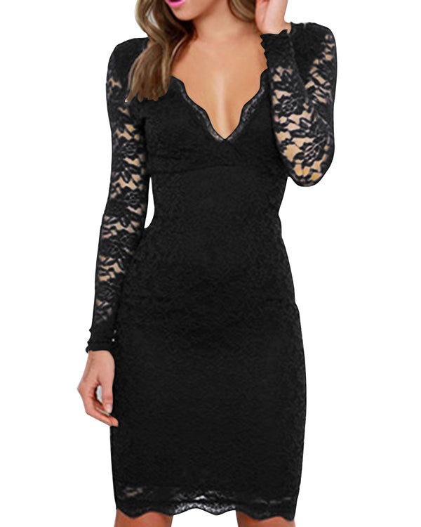 Solid Sexy Double V-neck Elegant Cutout Crochet Lace Mini Dress