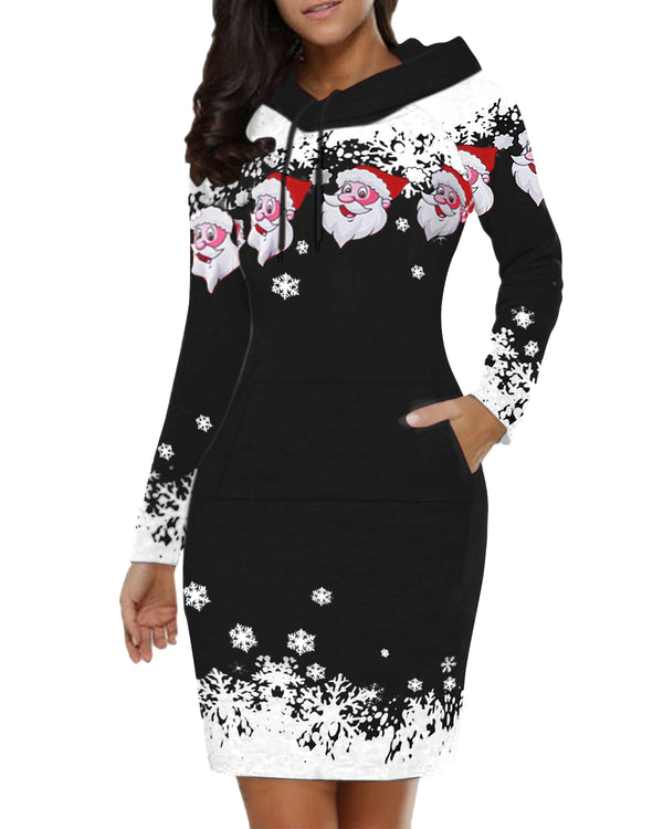 Women Christmas Santa Printed Slim Tunic Hoodie