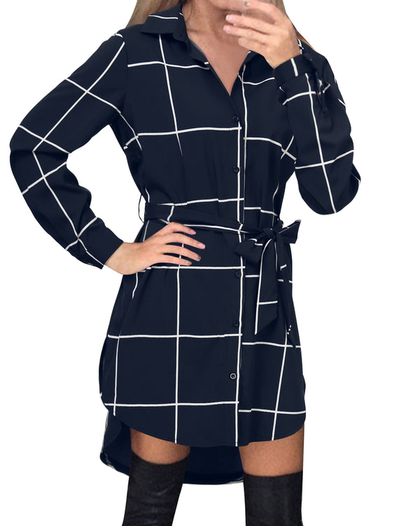 Women Casual Button Lapel Plaid Shirt Dress Tops