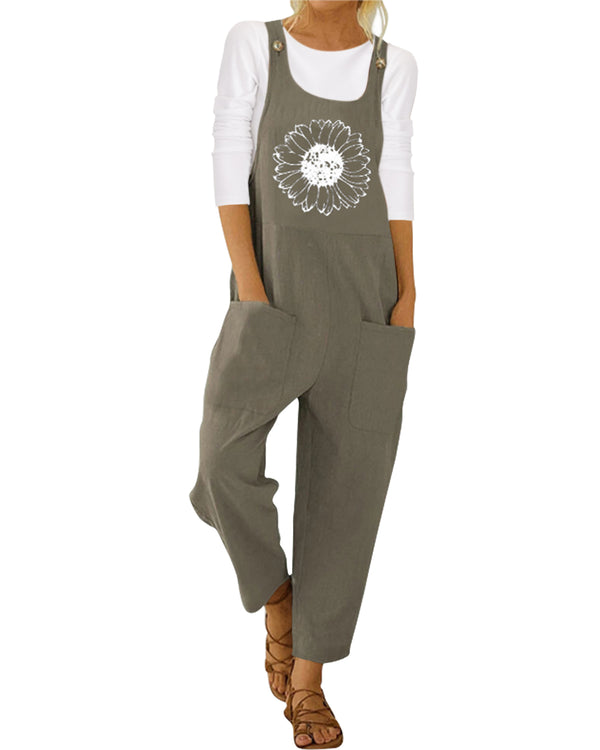 Women Graphic Loose Casual Overall
