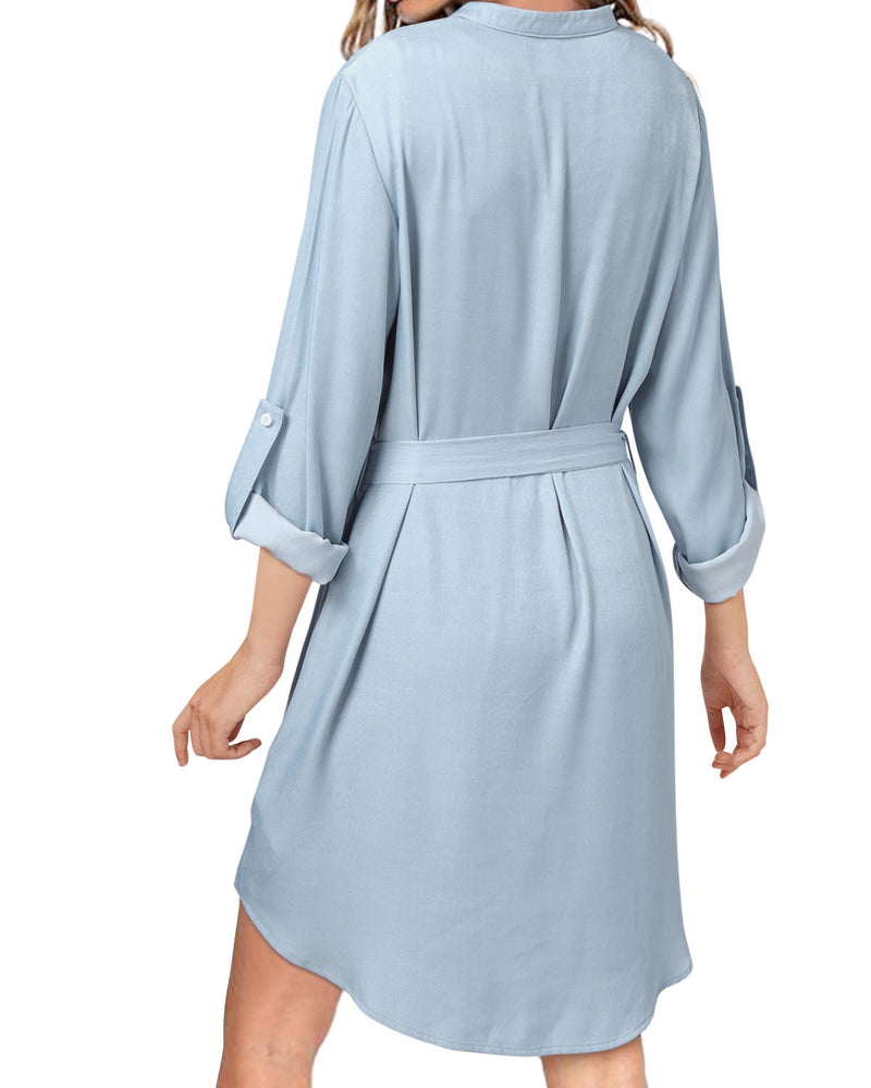 Solid Color Casual Shirt Dress Checkered With Belt