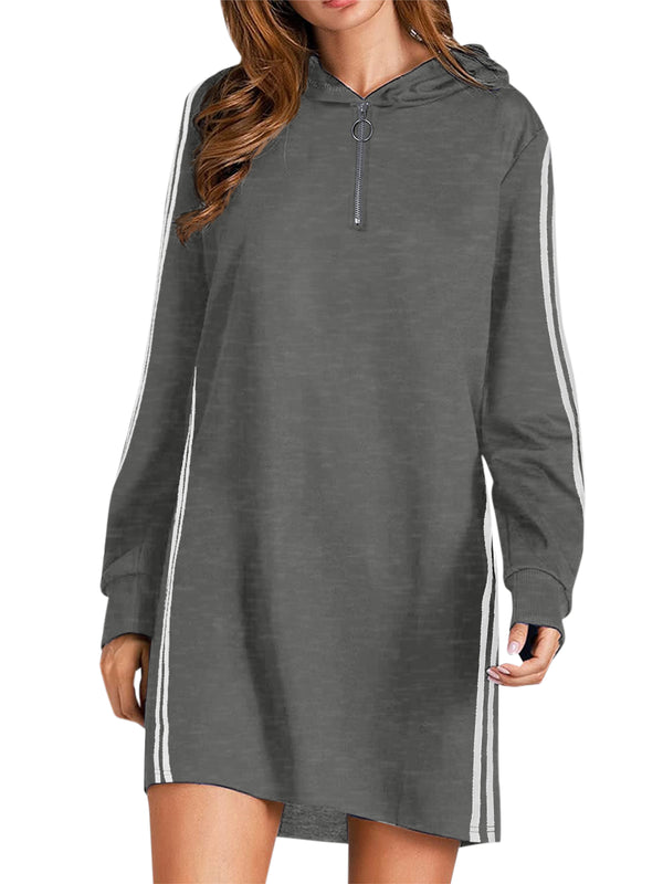 Women Side Striped Casual Tunic Hoodie with Pockets