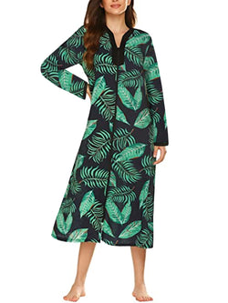 Pajamas for Women Zip Front Robes Floral Print Loungewear
