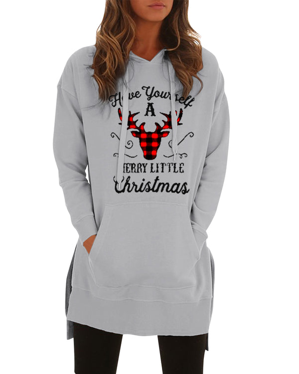 Women Christmas Elk Cartoon Print Casual Hoodie