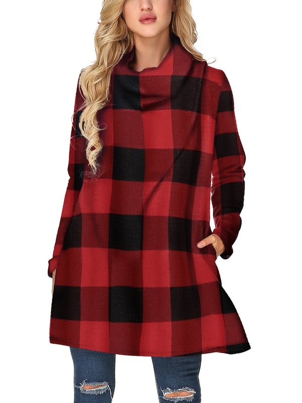 Womens Plaid Cowl Neck Knit Casual Loose Warm Tunic Tops