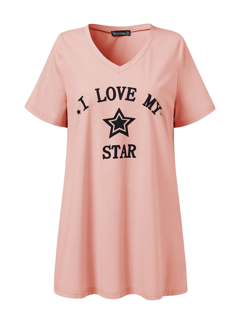 Womens Casual Letter Pajamas Print Short Sleeve Top