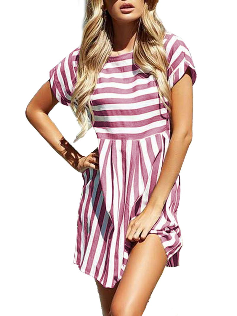 Solid Color Striped Short Sleeves Casual Cotton Mini Dress