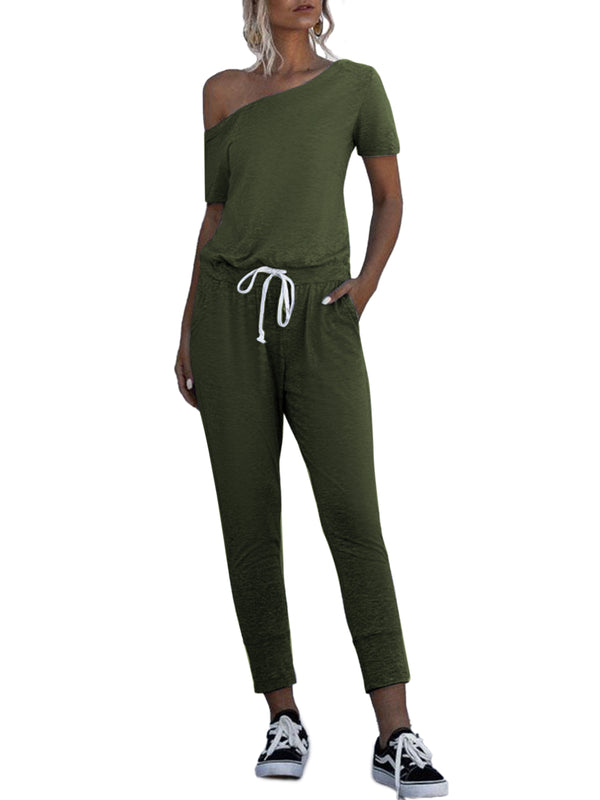 Womens Solid Casual Soft Jumpsuit Elastic Waist Drawstring