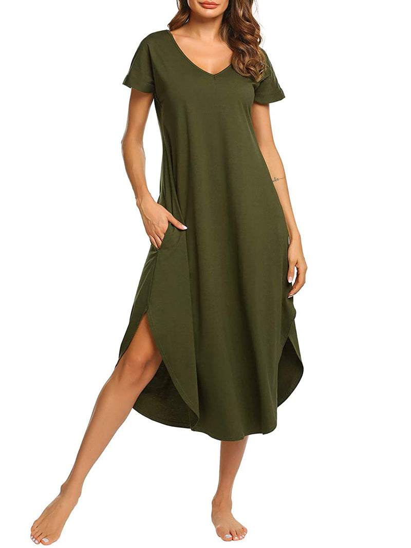 Solid Color Pure Casual Maxi Dress Homewaer Lounge Loose Dresses