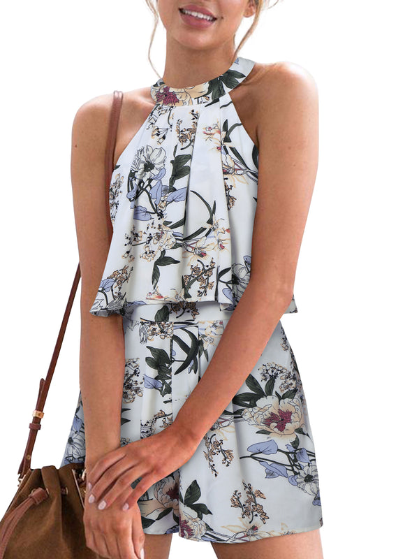 Vacation Bandage Floral Romper Halter Tie-up