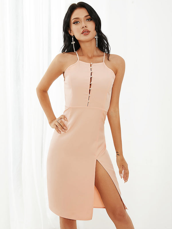 Summer Solid Color Sleeveless Split Hem Midi Dress
