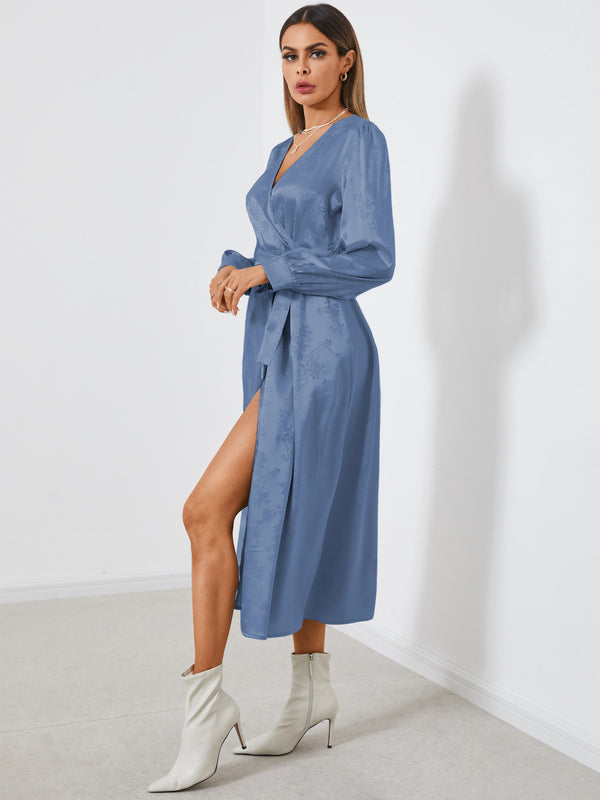 Maxi Dress Lace-up Satin Jacquard Wrap