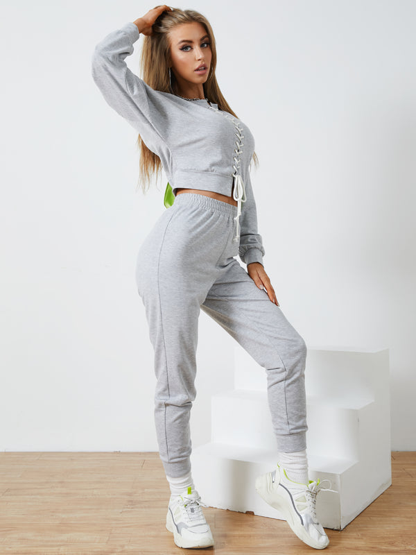 Lace-Up Design Long sleeves Top & Pants Set