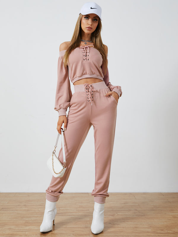 Off Shoulder Lace-Up Design Side Pocket Top & Pants Set