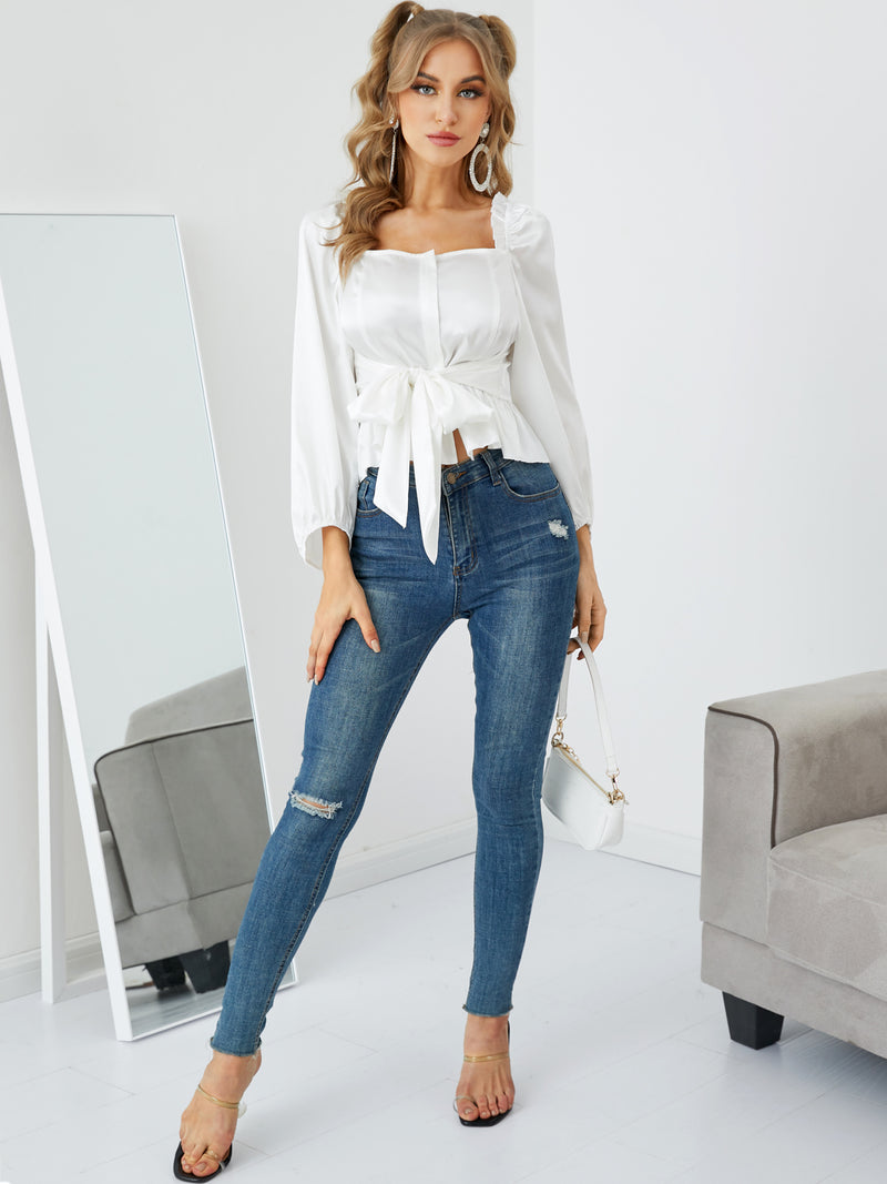 Solid Satin Lantern Sleeves Square Neck Lace-up Blouse