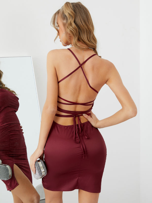 Backless Lace-up Split Solid Mini Dress Sexy