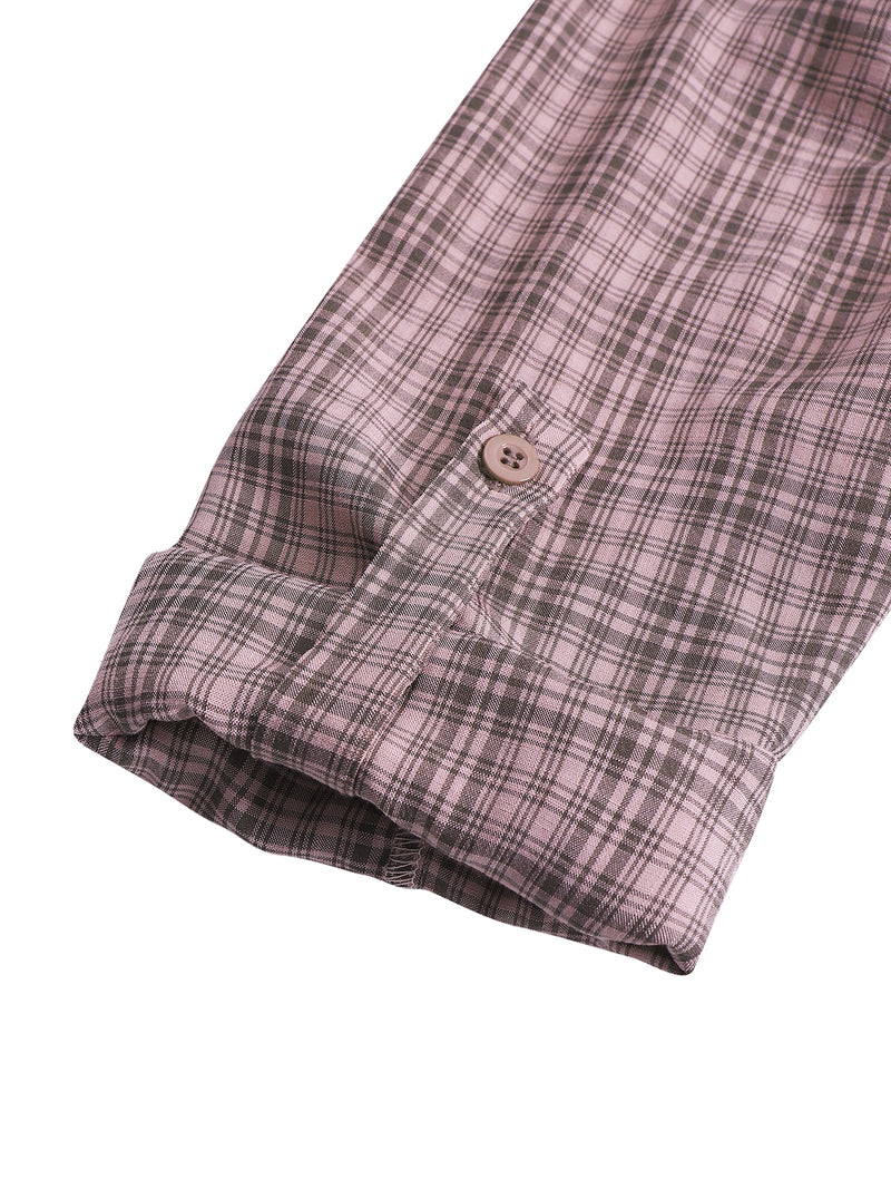 Women Plaid Roll Tab Sleeve Lapel Colloar Shirt