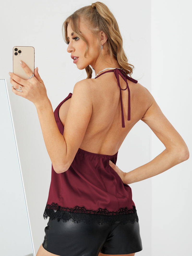 Lace Patchwork Lrim Drape Sagging Sleeveless Solid Cami Sexy