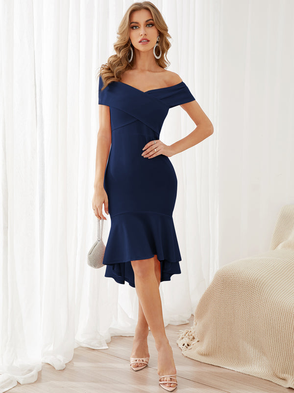 Solid Sexy Crossed Front Off Shoulder Mermaid Midi Dress