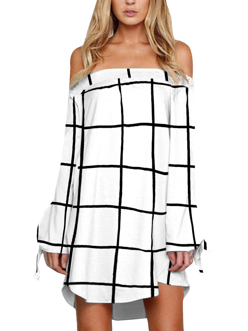 Women Plaid Knot Sleeve Off Shoulder Mini Dress