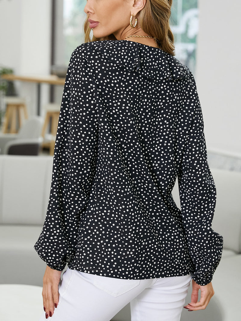 Womens Casual Ruffle Sleeve V Neck Polka Dot Blouse