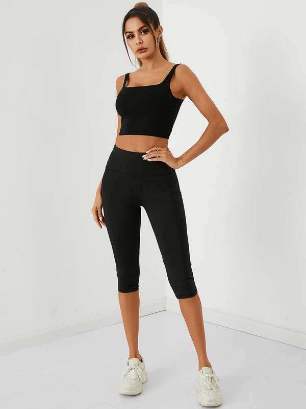 Women Solid Sport Slim Pant With Side Pockets