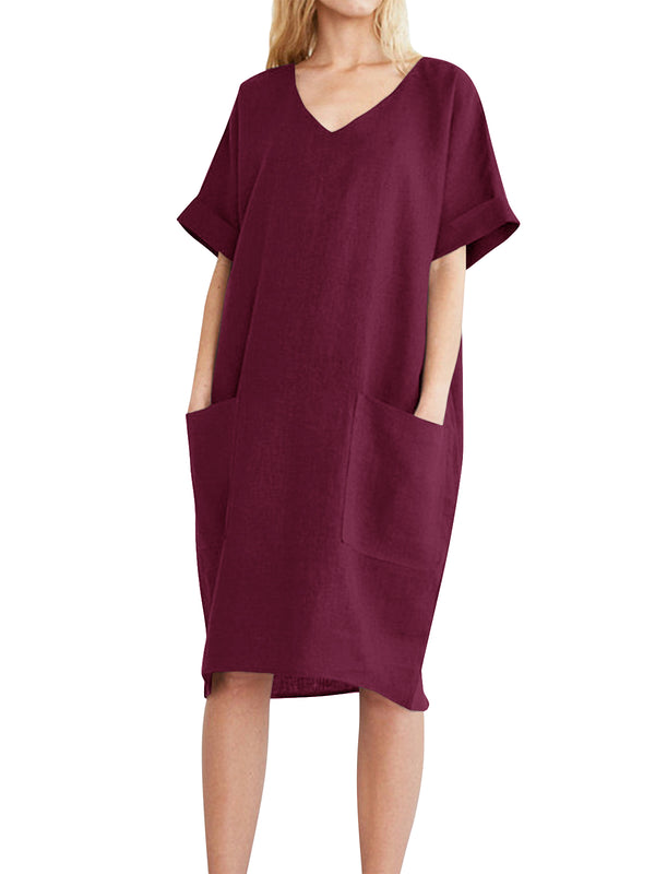 Womens Casual Home Solid Color V Neck Short Sleeve Midi Dress