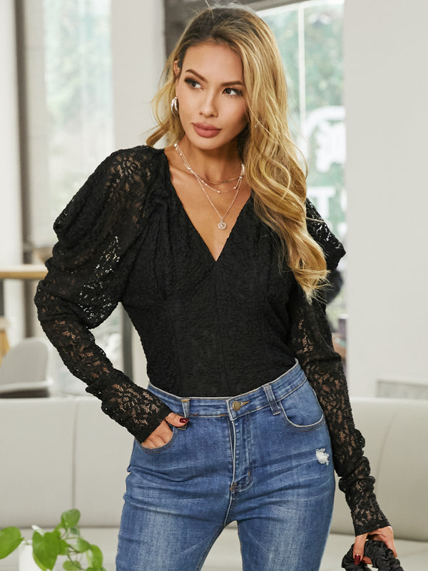 Solid Elegant Lace Stitching Puff Sleeve Top Blouse