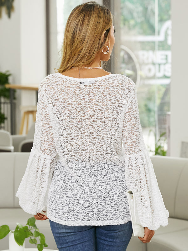 Women Long Sleeves Lace V Neck Elegant Cocktail Party Blouse