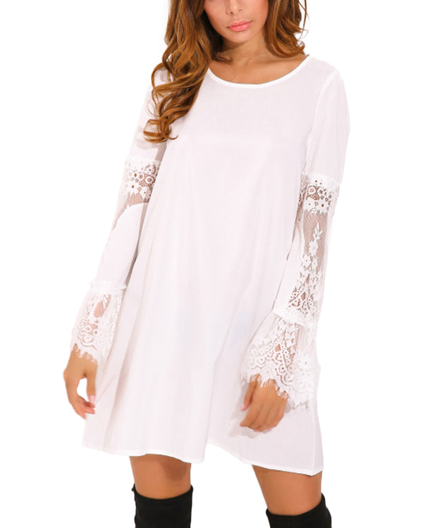 Women Solid Flowy Swing Blouse Lace Mini Dress - Coendy