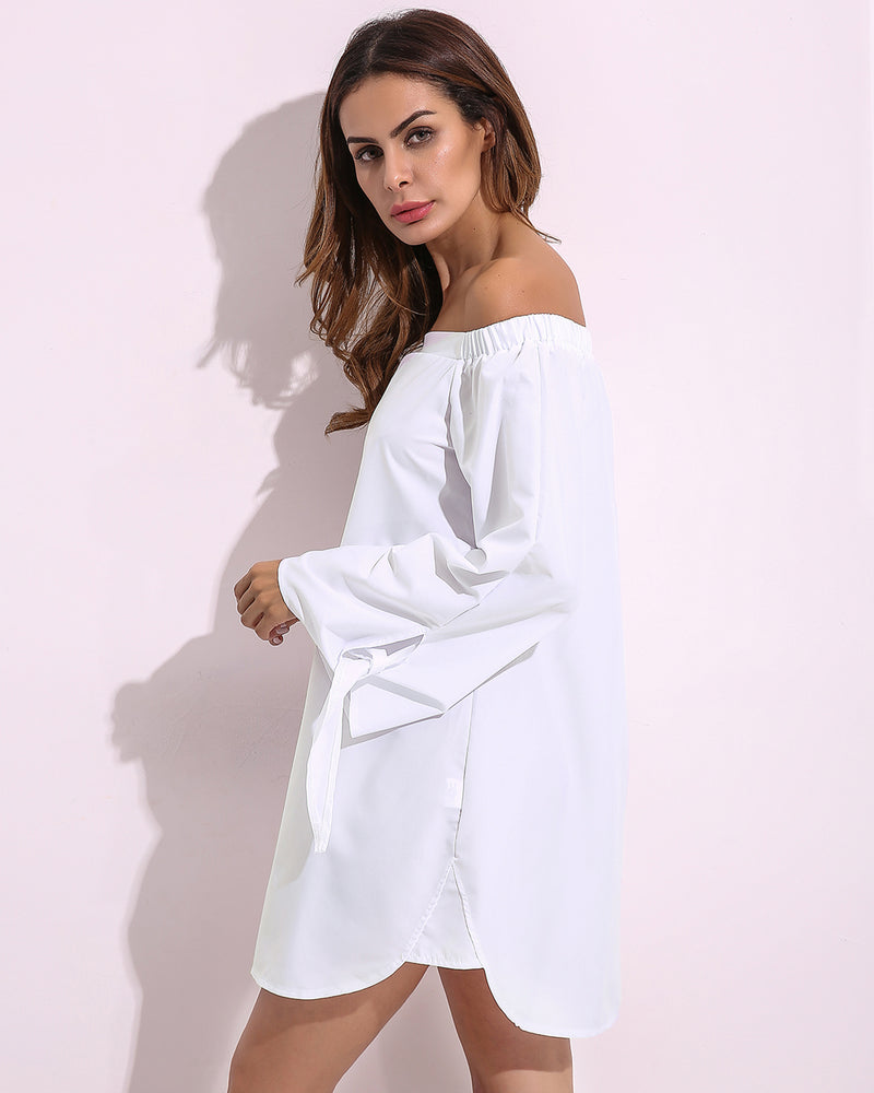 Women's Strapless Loose Casual Sexy Off Shoulder Mini Dress
