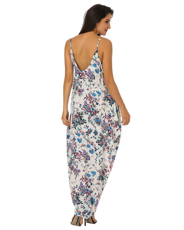 Women's Floral Print Spaghetti Strap Long Maxi Dress Sundress - Coendy