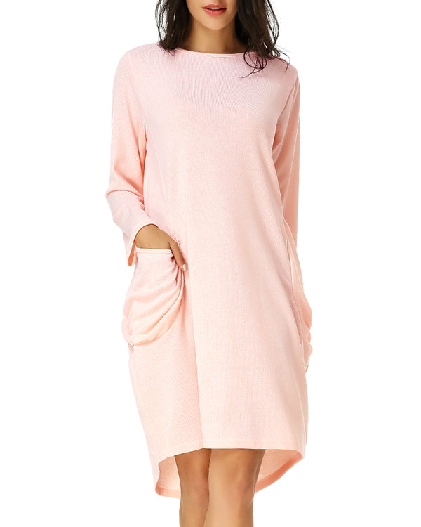 Women Casual Solid Loose Fit Baggy Midi Dress - Coendy