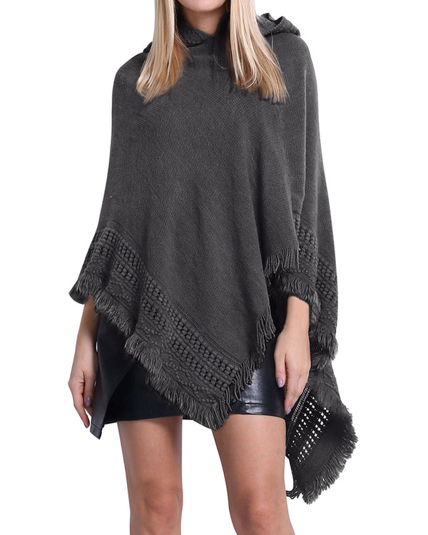Women's Solid Shawls Capes Hooded Poncho - Coendy