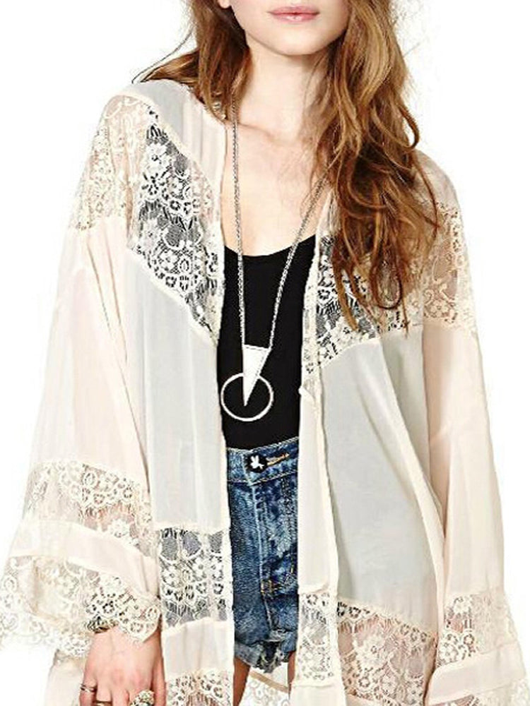 Women Cardigan Chiffon Sheer Loose Kimono Capes - Coendy
