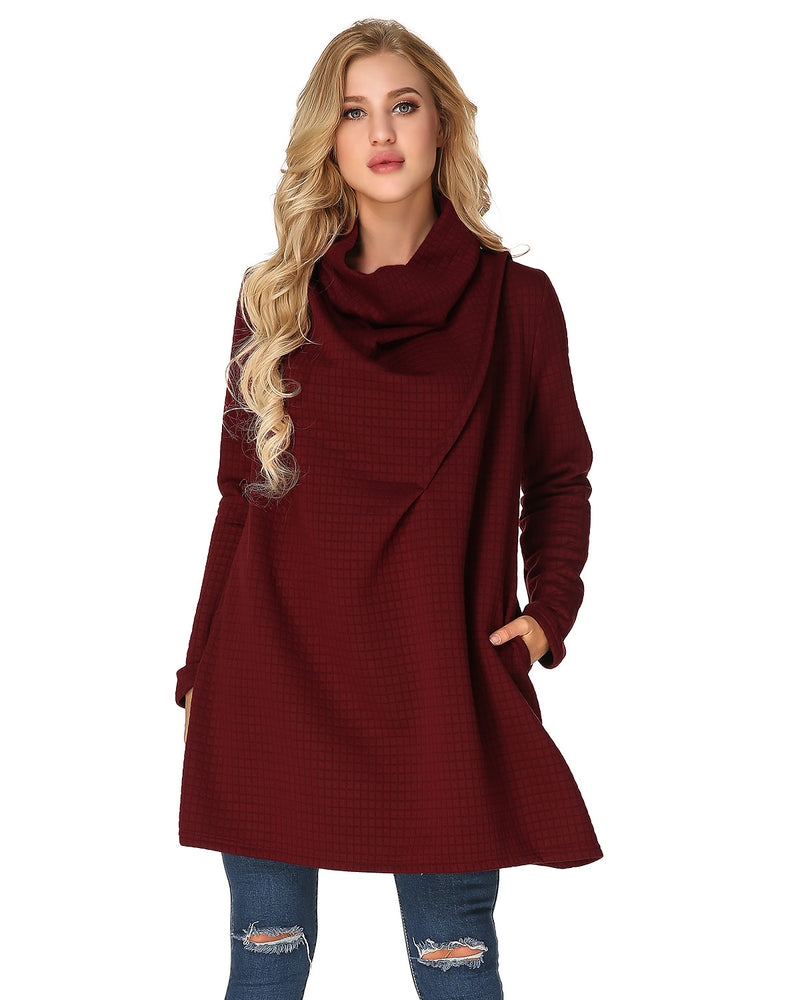 Women's Cowl Neck Plus Size Pullover Knit Loose Warm Mini Dress