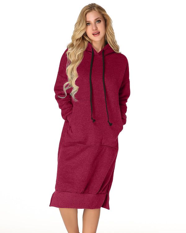 Women's Hooded Jumper Solid Casual Midi Dress