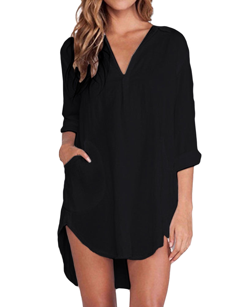 Women Chiffon Casual Loose Button Down Tunic Top with Pockets