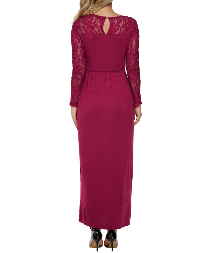 Women Long Sleeve Floral Lace Wedding Bridesmaid Evening Dress - Coendy
