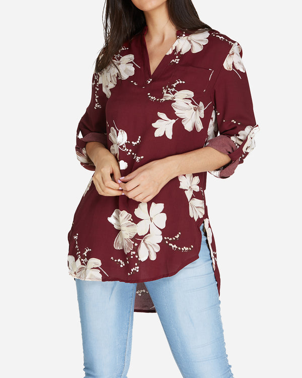Women's Chiffon Blouses Casual Floral Shirt - Coendy